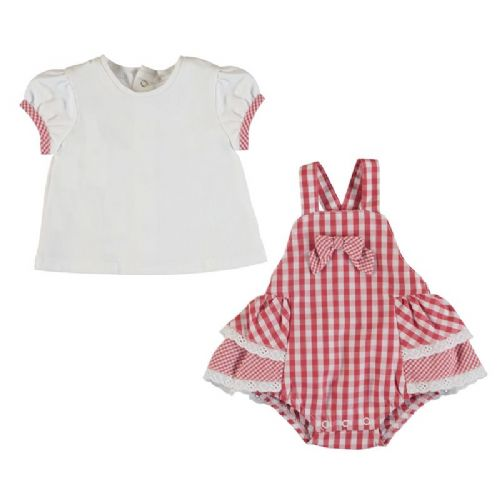 T-Shirt and Red GIngham Dungaree Skirt  Set